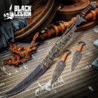 Black Legion Darkshade Steampunk Sword And Throwing Knives Set With Shoulder Sheath