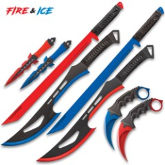 Fire And Ice Battle Set - Stainless Steel Blades, TPE Karambit Handle, Cord-Wrapped Sword Handles, Nylon Sheaths