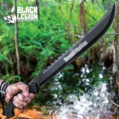 Black Legion Swamp Master Machete Knife With Sheath - Stainless Steel Blade, Textured TPU Handle, Lanyard - Length 24""