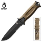Gerber StrongArm Fixed Blade Knife - Partially Serrated - Coyote Brown