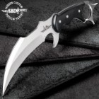 "Gil Hibben High Polish Karambit Knife With Leather Sheath - 5Cr15MoV Steel Blade, Black Linen Micarta Scales - 9 1/4"" Length"