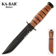 KA-BAR Army Serrated Knife with Leather Sheath