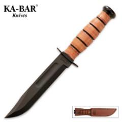 KA-BAR USA Short Straight Knife with Leather Sheath