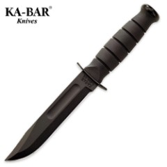 KA-BAR Short Black Straight Knife with Leather Sheath