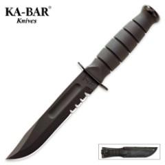 KA-BAR Short Black Serrated Knife with Leather Sheath