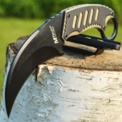 MTech Neck Karambit with Black and Tan G10 Handle and Molded Sheath