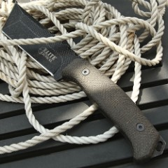 """Elite Black Tactical Tanto Knife With Sheath - 8Cr13 Stainless Steel Blade, Stonewashed Finish, Micarta Handle Scales - Length 10 1/2"""""""