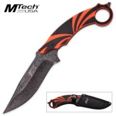 MTech USA Xtreme Fixed Blade Knife with Nylon Sheath - Orange / Black G10 Handle