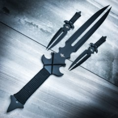 Fantasy Master Fang Clan 3-Piece Short Sword and Twin Dagger Set with Nylon Belt / Shoulder Sheath