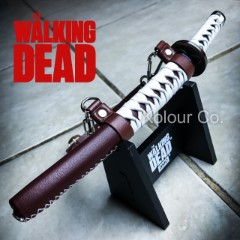 The Walking Dead Letter Opener Katana with Leather Sheath and Display Stand - Officially Licensed
