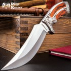 "Ridge Runner Full Tang Executive Wooden Bowie Knife With Sheath - Etched Scrollwork On Handle, AUS-6 Stainless Steel - 10"" Length"