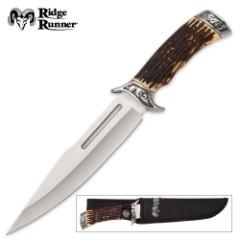 Ridge Runner Pronghorn Prairie Bowie Knife and Sheath - Faux Stag Antler Handle - Deer Hunting Knife