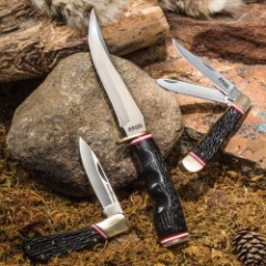 Ridge Runner Cinder Forge 3-Piece Knife Set - Trapper Pocket Knife, Lockback Folder, Fixed Blade / Bowie - Stainless Steel, Black Faux Staghorn, Brass - Handsome Gift / Presentation / Display Box