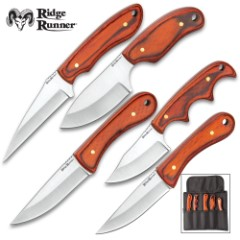 Ridge Runner Five-Piece Brown Wooden Knife Set With Pouch - Game Cleaning, Stainless Steel Blades, Pakkawood Handles