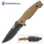 Smith & Wesson M&P Outdoor Survival Tan Fixed Blade Knife - 8Cr13MoV High Carbon Steel, Overmolded Handle