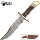 Timber Rattler Stag Handle Damascus Bowie Knife