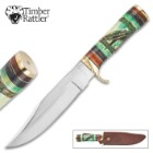 Timber Rattler Ozark Bowie Knife Fixed Blade Genuine Bone