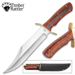 """Timber Rattler Coliseum Battle Bowie / Fixed Blade Knife - Stainless Steel - Hardwood Handle, Brass Pins, Brass Guard - Nylon Sheath - Collecting, Field Use, Display and More - 15 1/2"""""""