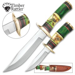 "Timber Rattler Emerald Loch 2-Piece Fixed Blade Hunting Knife Set - 8"" Bushcraft, 12"" Bowie - 420 Stainless Steel - Green Carved Bone, Pakkawood - Nylon Sheath - Outdoors Survival Collecting Display"