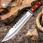 Timber Rattler Sawback Mountain Bowie Knife With Sheath - Stainless Steel Blade, Full-Tang, Pakkawood Handle - Length 16 1/2""