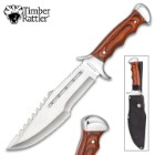 Timber Rattler Grizzly Fighter Fixed Blade Knife With Sheath - 3Cr13 Stainless Steel Blade, Pakkawood Handle - Length 14""