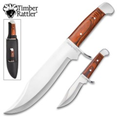 Timber Rattler Warcry Echo 2-Piece Fixed Blade Knife Set - Bushcraft and Bowie Knives - 420 Stainless Steel - Pakkawood - Nylon Belt Sheath - Outdoors, Survival, Collecting & More
