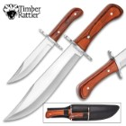 Timber Rattler Durango Bowie Knife Set With Sheath - Stainless Steel Full-Tang Blades, Wooden Handles, Stainless Steel Guards