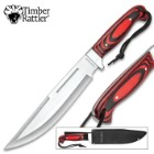 Timber Rattler Blood Moon Fixed Blade Knife With Sheath - 3Cr13 Stainless Steel Blade, Full-Tang, Pakkawood Handle Scales - Length 16""