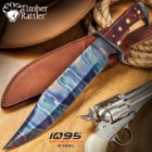 "Timber Rattler Gunslinger Bowie Knife With Sheath - 1095 Carbon Steel Blade, Steel Guard, Hardwood Handle - Length 16 1/2"""