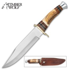 Timber Wolf Deer Slayer Knife With Sheath - Stainless Steel Blade, Stag Handle, Brass Guard, Stainless Steel Pommel - Length 13 1/4""