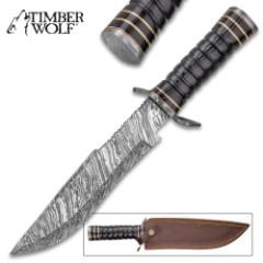 "Timber Wolf Tomb Raiding Fixed Blade Knife And Sheath - Damascus Steel Blade, Buffalo Horn Handle - Length 14 1/4"""