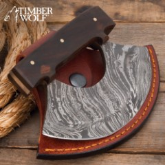 Timber Wolf Classic Ulu Knife With Sheath – Damascus Steel Blade, Wooden Handle, Brass Screws – Width 3 3/4""