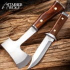 Timber Wolf Expedition Set With Sheath - Camp Axe and Fixed Blade Knife, 1055 Carbon Steel Blades, Wooden Handles