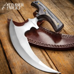 """Timber Wolf Reaper Urban Ulu With Sheath - Stainless Steel Blade, Full Tang, Wooden Handle Scales - Length 4 3/4"""""""