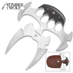 Timber Wolf Quad Blade Push Dagger With Sheath - Stainless Steel Blade, Full Tang, Wooden Handle Scales - Length 8""