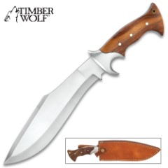 Timber Wolf Jungle Commander Kukri Knife With Sheath - Stainless Steel Blade, Wooden Handle Scales, Stainless Steel Guard - Length 15 1/4""