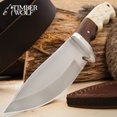 """Timber Wolf Adrian Trail Knife With Sheath - Stainless Steel Blade, Full-Tang, Walnut Wood And Bone Handle Scales - Length 9"""""""