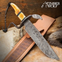 Timber Wolf Frontiersman Bowie Knife And Sheath - Handcrafted, Damascus Steel Blade, Burnt Bone Handle - Length 13 1/4""