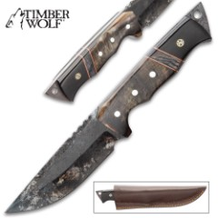 """Timber Wolf Ram Horn Knife With Sheath - Carbon Steel Blade, Rough Forged, Ram Horn Handle Scales - Length 10 1/4"""""""