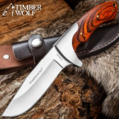 """Timber Wolf Blazin Bowie Knife With Sheath - Hardwood Handle With Brass Lanyard Hole, Brass Pins - 9"""" Length"""
