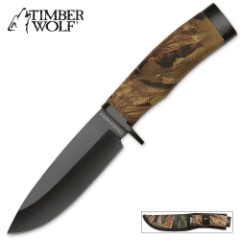Timber Wolf Camo Creek Hunter Fixed Blade Knife