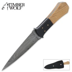 Timber Wolf Dagger Horn & Olive Wood Damascus