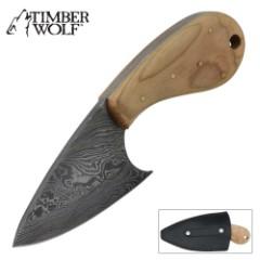 Timber Wolf Alaskan Skinner Olive Wood Damascus