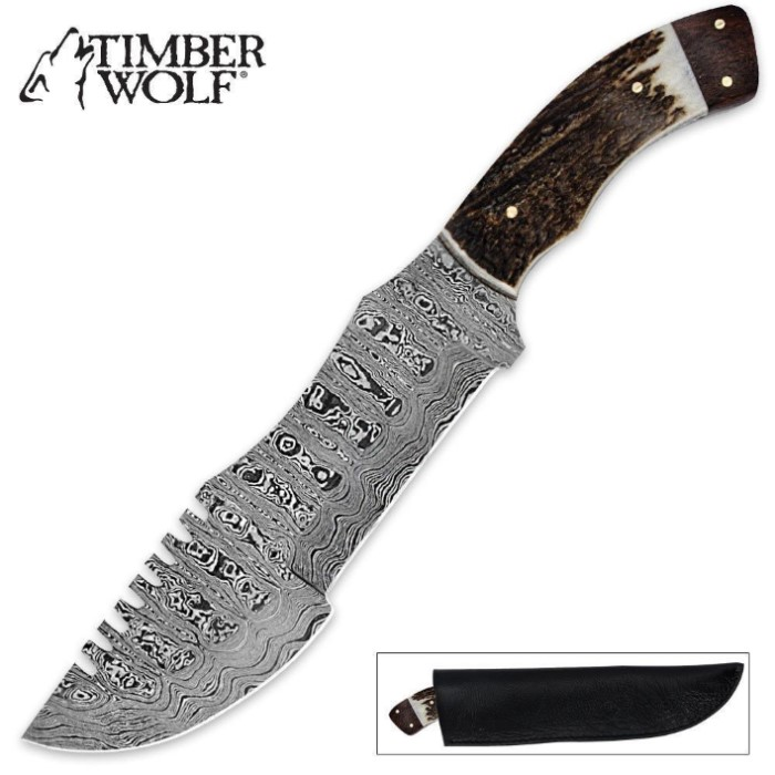 Timber Wolf Damascus Stag Bowie With Sheath