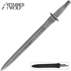 Timber Wolf Middle Ages Damascus Sword with Sheath