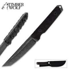 Timber Wolf Full Tang Atomic Steel Stonewash Tanto With Sheath