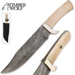 Timber Wolf Damascus & Camel Bone Fixed Blade Clip Point Bowie Knife