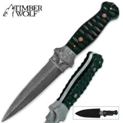Timber Wolf Damascus Steel & Micarta Boot Knife Green & Black