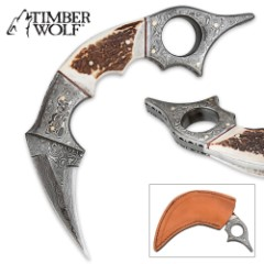 Timber Wolf Damascus Steel & Stag Horn Karambit Knife