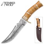Timber Wolf AncientWood Damascus Steel and Olivewood Bowie Knife w/ Leather Sheath